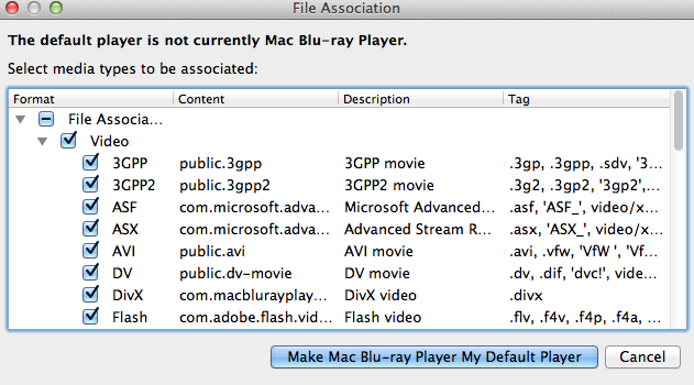 how to change default player on mac